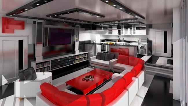 Большой кинотеатр на кухне с открытой планировкой