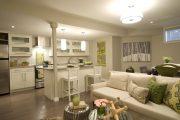 Фото 8 Дизайн совмещенной кухни-гостиной с барной стойкой: 75 мультифункциональных и современных интерьеров