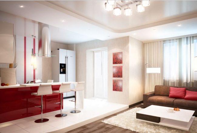 Двухуровневый пол на красно-белой кухне-гостинной