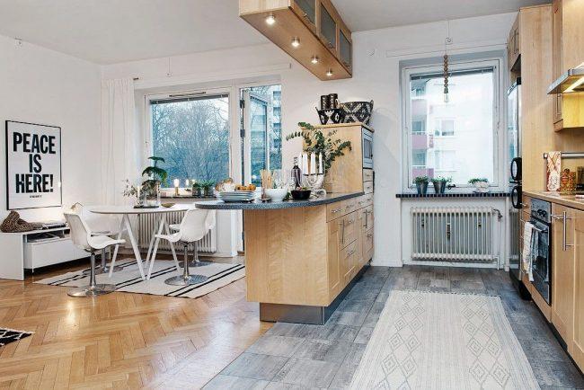 Зонирование кухни-гостинной при помощи мебели