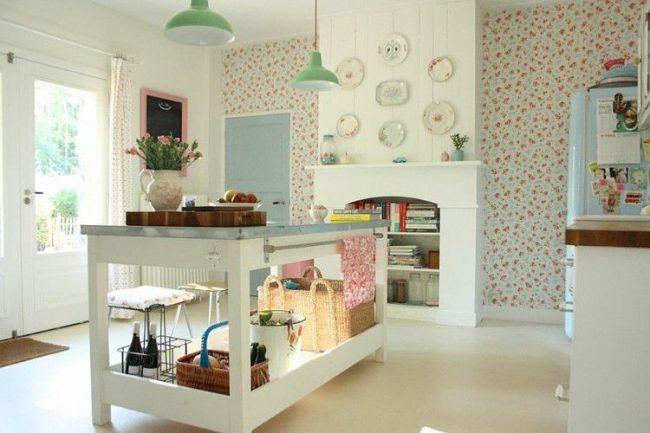 Белый пол на кухне заставит ее еще больше сверкать