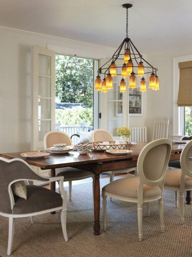 Прямоугольный раскладной кухонный стол из натурального дерева