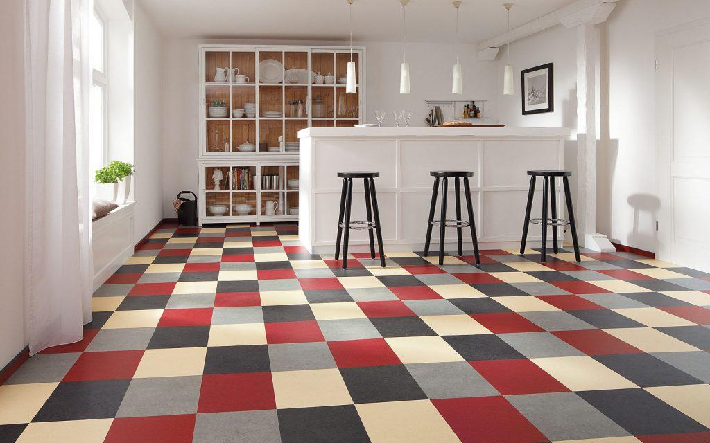 White linoleum flooring