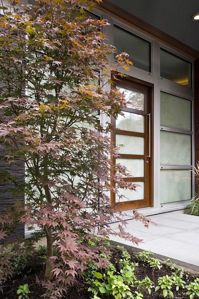 Пластиковая входная дверь, имитирующая натуральную древесину