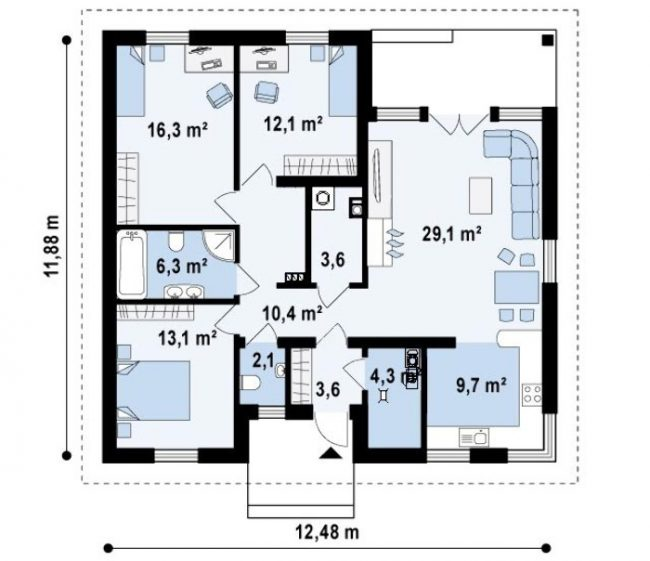 Базовая планировка первого этажа в типовом проекте дома площадью 110,6 кв. м. Фундамент – ленточный, монолитно сборной