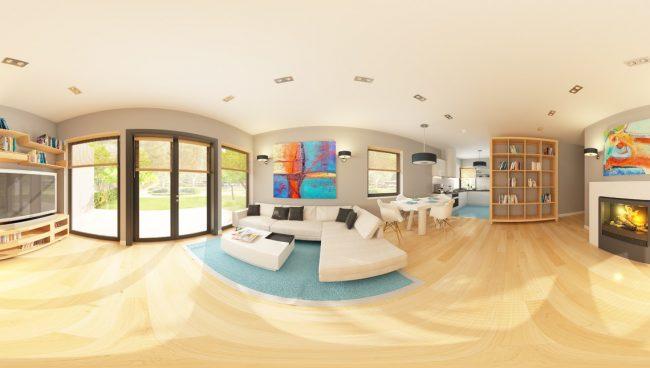 Панорамный вид внутри дома (изображения фасадов - см. выше). Пеноблоки - гигроскопичный материал для стен, но для круглогодичного проживания дома из них подходят ничуть не менее, чем кирпичные