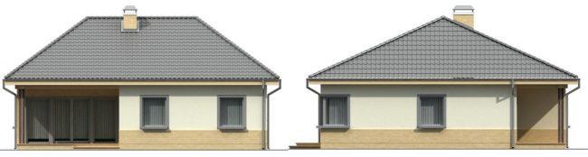 Фасады одноэтажного дома с верандой и угловым окном на кухне. Малый коэффициент усадки стен позволяет такое непривычное для наших условий остекление