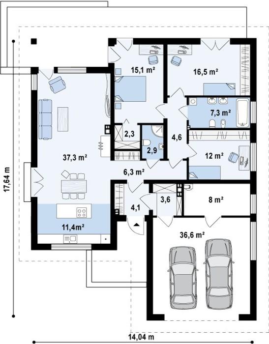 Схематический вид всех помещений одноэтажного дома площадью 165 кв.м с гаражом на две машины (3D-визуализации экстерьера и интерьера - см. выше)