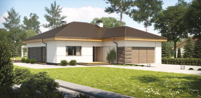Одноэтажный дом с гаражом на участке 17,6 × 14м