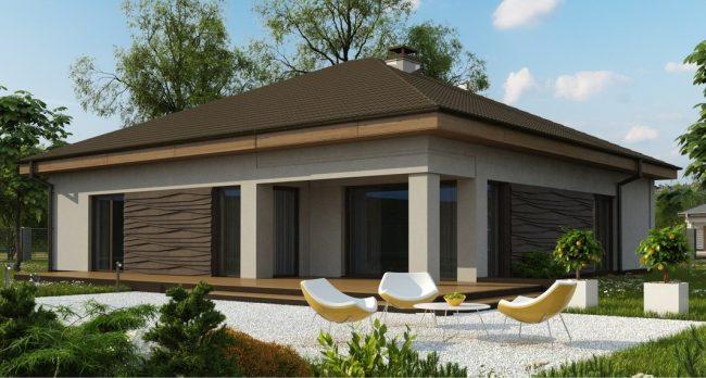 Одноэтажный дом с гаражом на участке 17,6 × 14м. Визуализация из проекта: задний двор и терраса