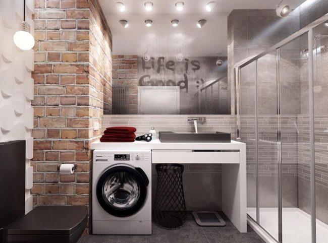 Практичное и функциональное решение расположения раковины над стиральной машиной