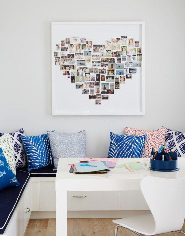Коллаж из фотографий, имеющий форму сердца, обрамлен белой квадратной рамкой, не отвлекающей от основного