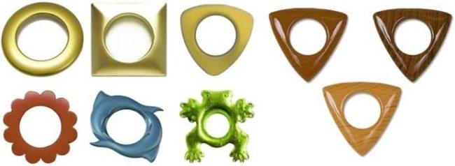 Формы люверсов могут быть разными от традиционных колечек до стильных жабок