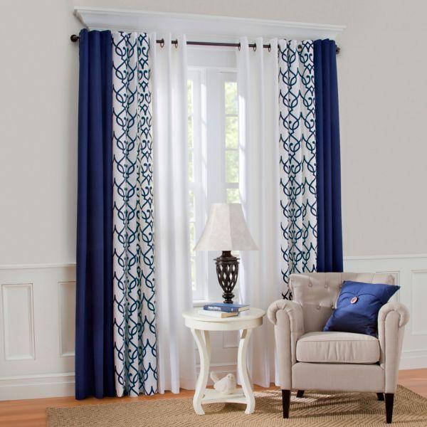 Комбинирование расцветок штор на люверсах: синяя, с принтом и белая