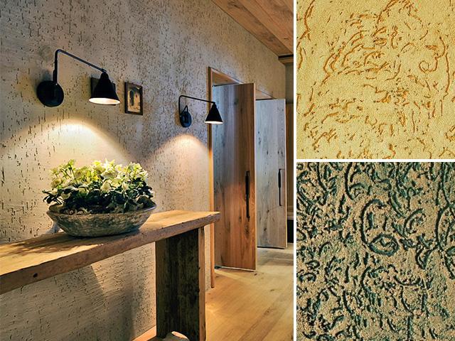 Прихожая в деревенском стиле с отделкой стен декоративной штукатуркой