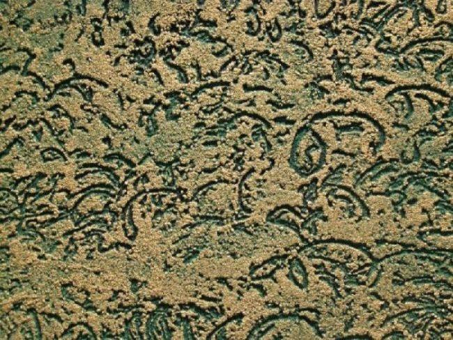 """Узорная декоративная штукатурка """"короед"""" в необычном зеленом цвете"""