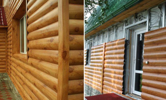 Фасад дома обшит металлическим сайдингом под брус