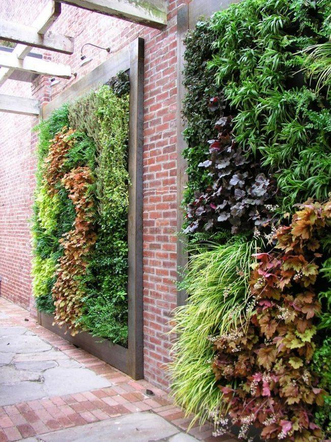 Необычный выбор для украшения стен с помощью оригинального решения оформить композицию из различных декоративных кустов