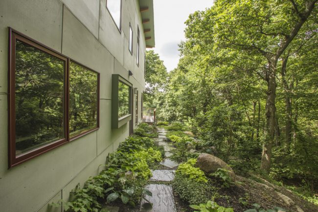 Очень большой и уютный двор с декоративной дорожкой обсаженой кустами гейхеры и другими растениями
