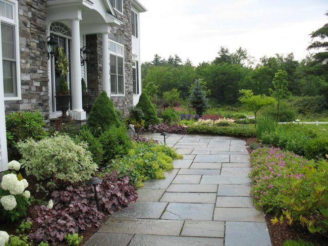Небольшая дорожка, ведущая к парадному входу в дом, обсаженная с обеих сторон декоративными растениями, среди которых очень лаконично выглядит гейхера