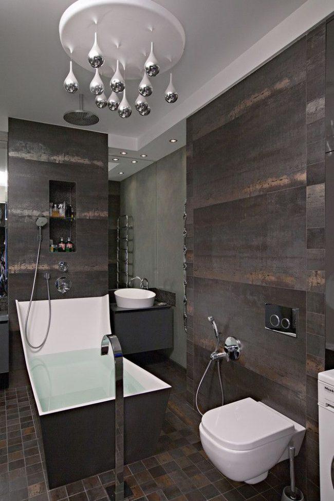 Ванная комната в стиле модерн с гигиеническим душем