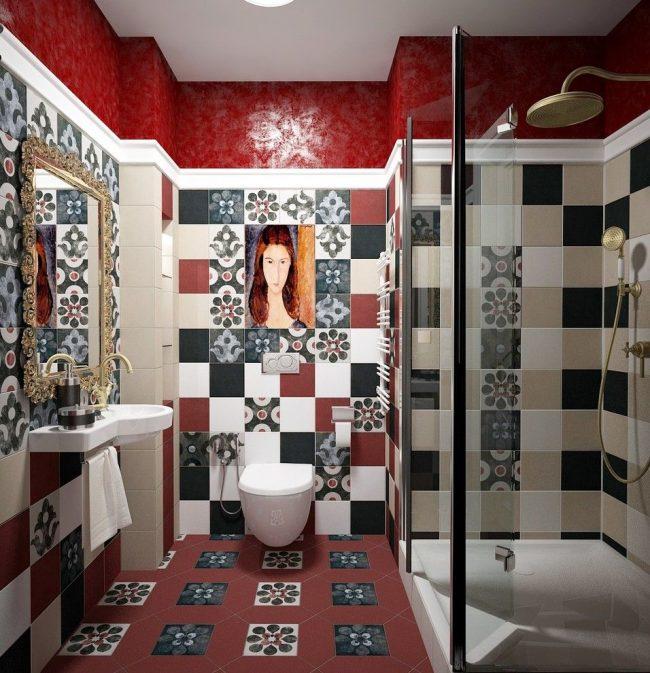 Необычная ванная в стиле фьюжн с подвесным туалетом и гигиеническим душем