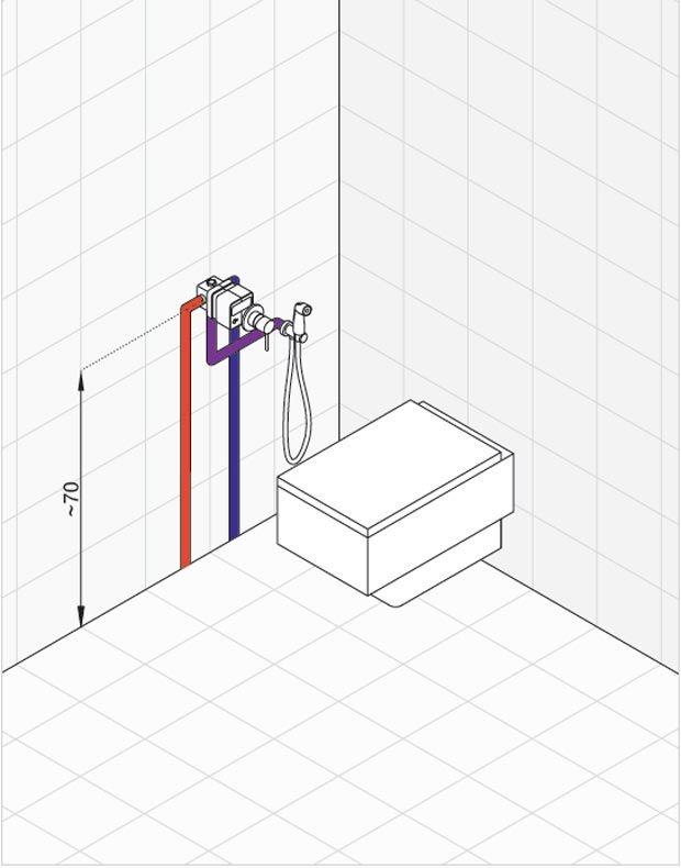 Схема трубной разводки для гигиенического душа