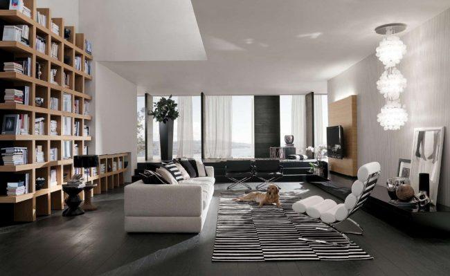 Итальянский модерн в просторной гостиной