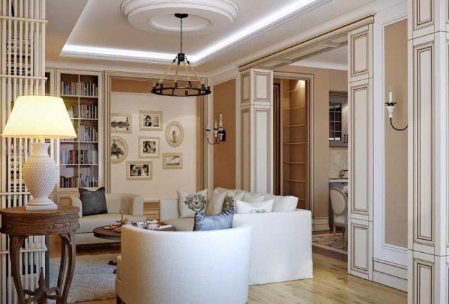Классика итальянского стиля в гостиной