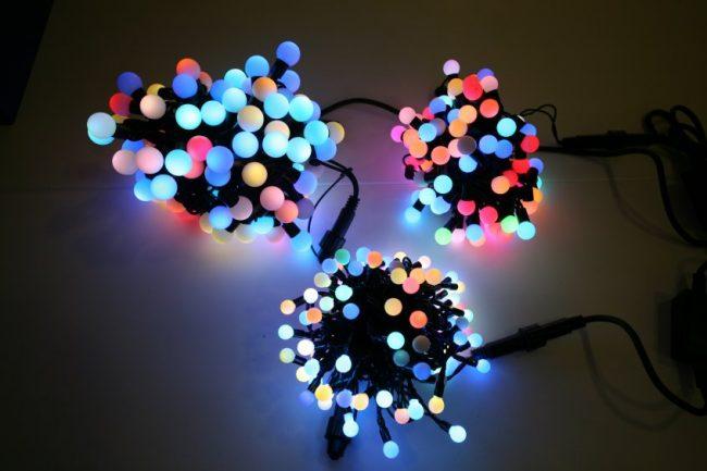Гирлянда в виде разноцветных LED шариков