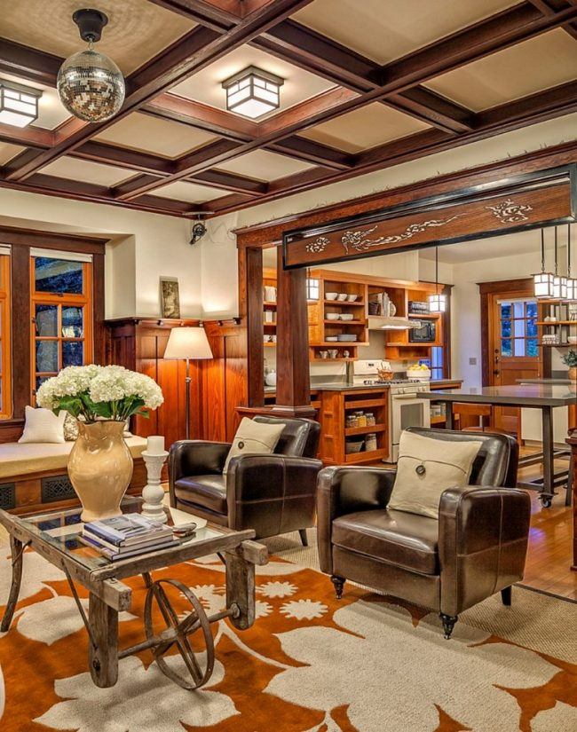 Часто кессонный потолок является симбиозом несущей конструкции с неповторимым декором