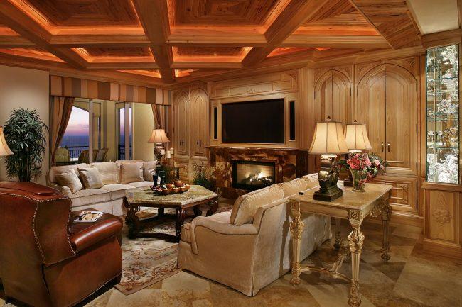 Кессонный потолок с подсветкой выглядит очень оригинально