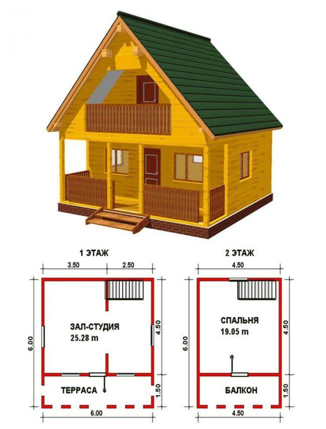 Проект маленького деревянного дома с мансардой и балконом