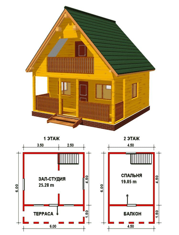 Пооект домика размером 10 на 8