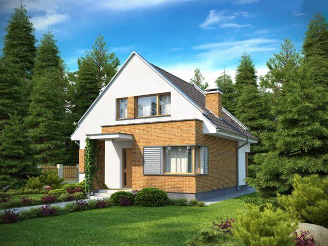 Проект небольшого загородного дома из кирпича