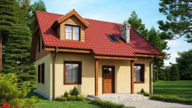 Проект мини-дома с крышей из черепицы