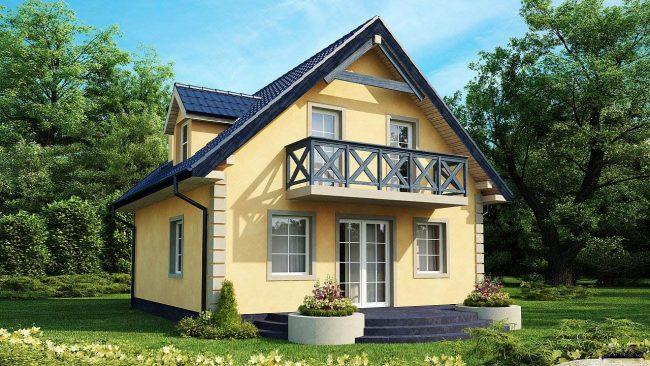 Проект небольшого дома в желтом цвете