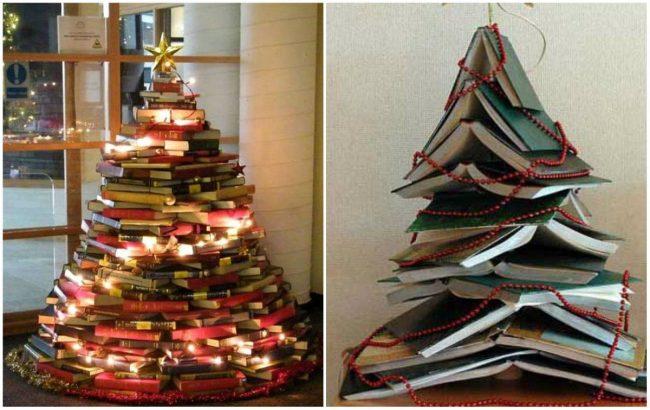 Новогодние елки из книг и блокнотов