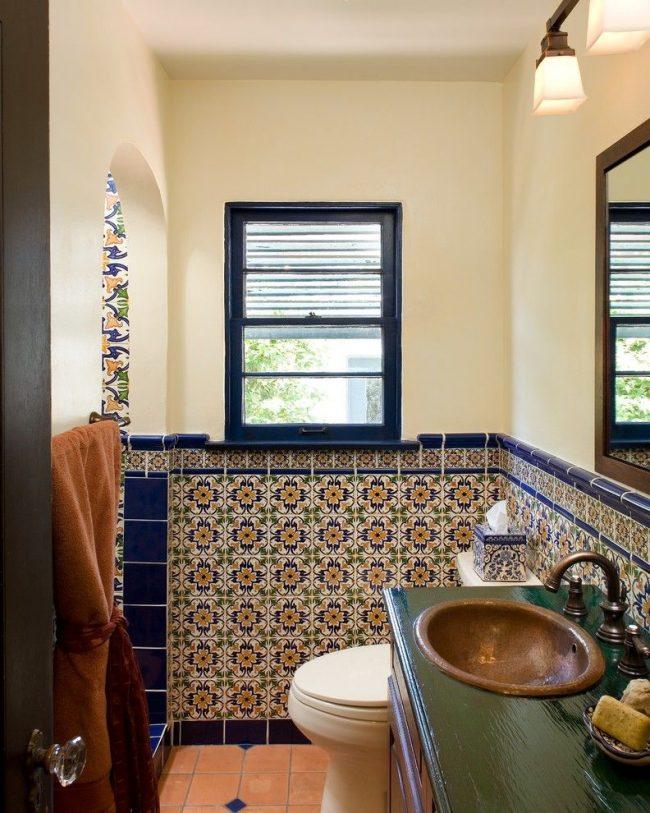 Плитка зелидж в ванной комнате восточного стиля