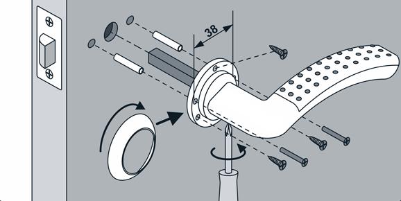 Схема сборки дверной нажимной ручки
