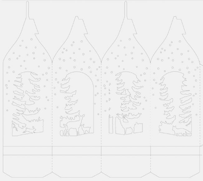 Схема бумажного фонарика