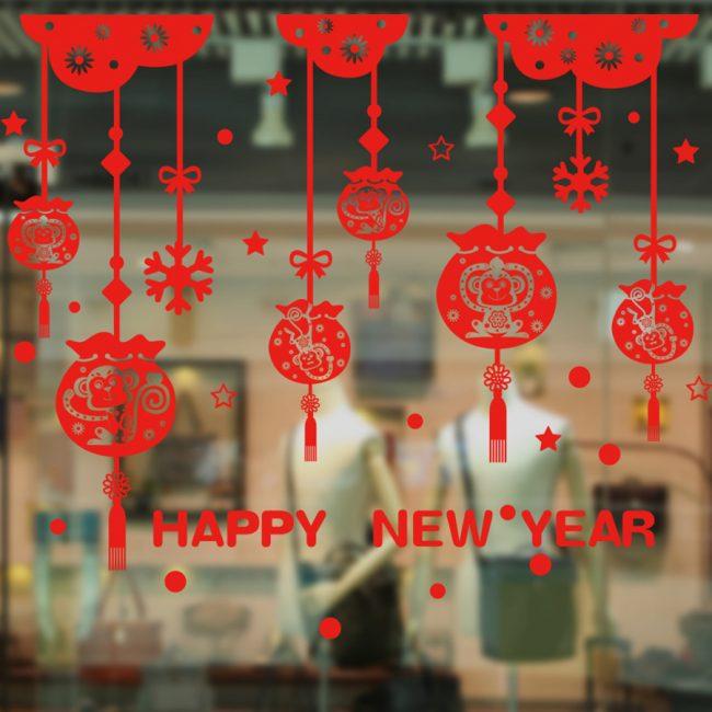Красный новогодний стикер для украшения витрины магазина