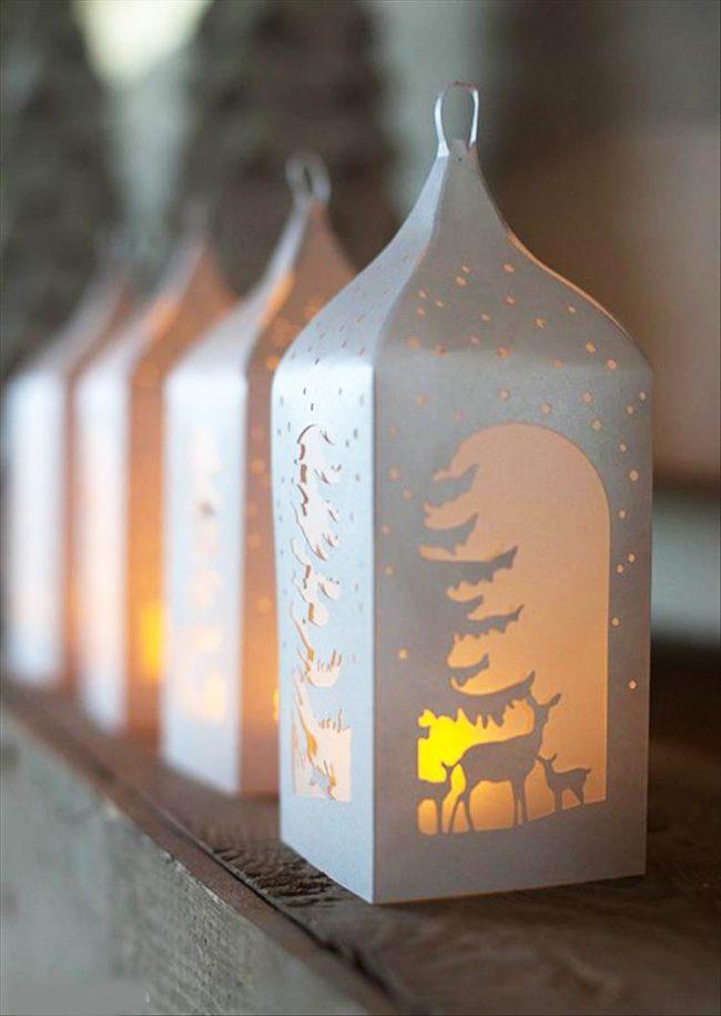 Красивые бумажные фонарики с новогодней тематикой