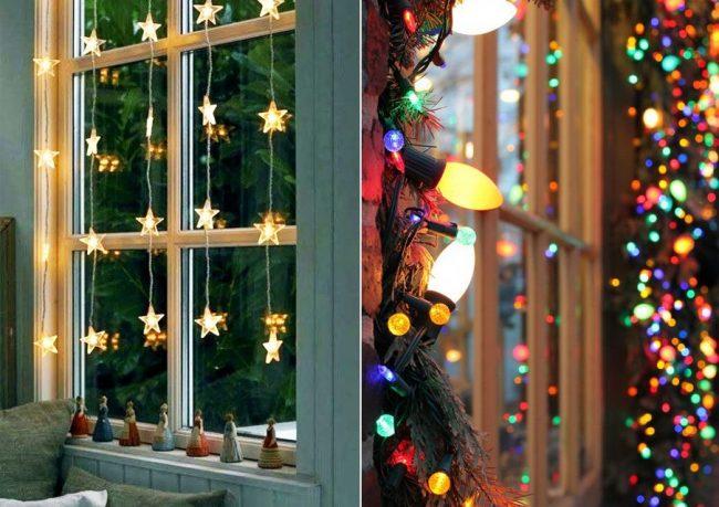 Украшение окна электрическими гирляндами