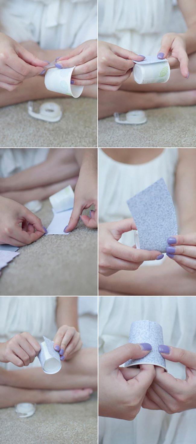 Поклейка полосок на бумажные стаканчики