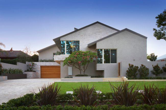 Ассиметричный загородный дом в стиле минимализм