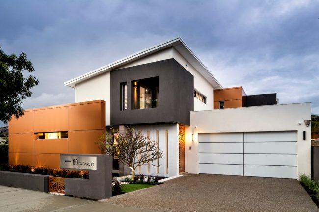 Стильный современный дом с гаражом на две машины