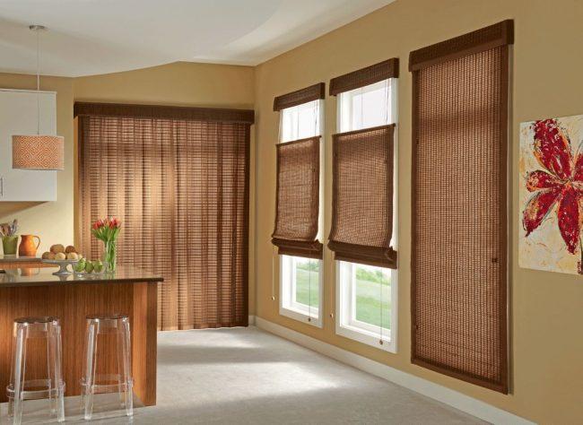 бамбуковые шторы на дверной проем: бамбуковые шторы в интерьере кухни в восточном стиле