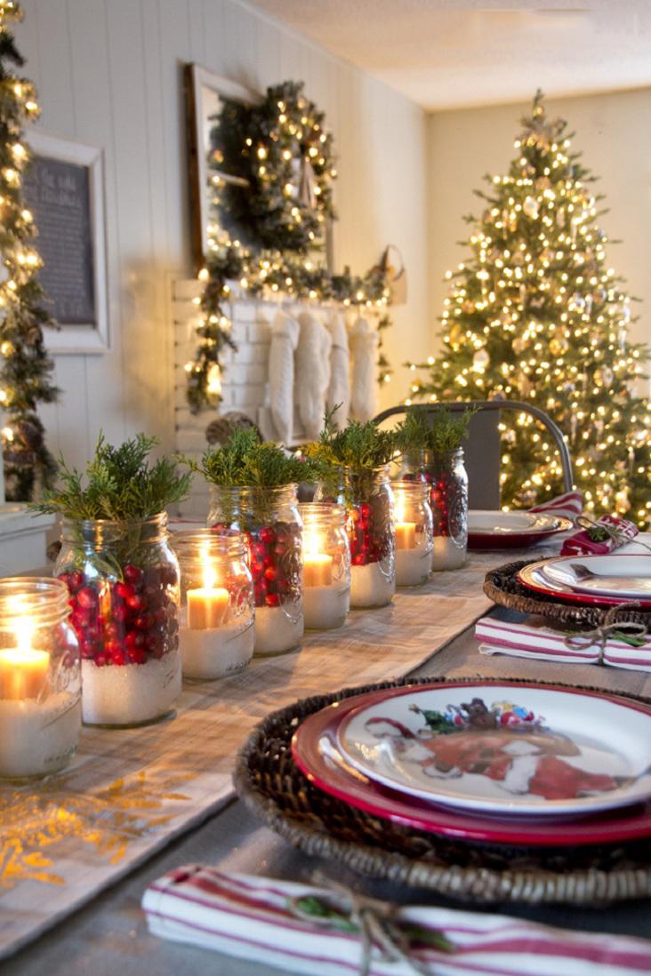 Новый год стол украшение