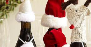 Украшаем бутылку шампанского на Новый год: эффектный аксессуар и идеальный подарок своими руками фото